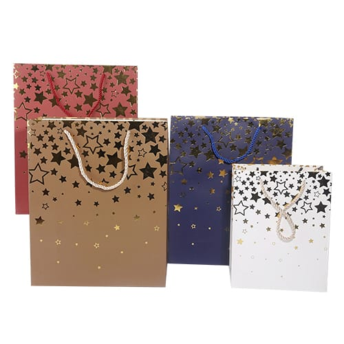 golden stamped paper shopping bags